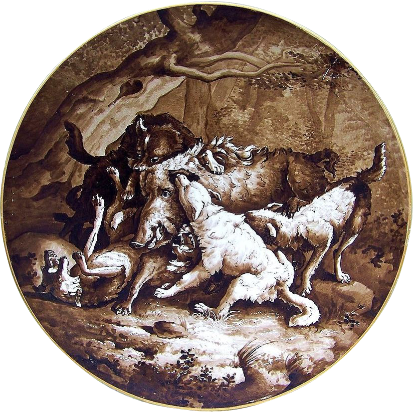 "Incredible France 1870-85 Hand Painted ""Wolf Pack Attacking a Wild Boar"" 13-3/8"" Charger"