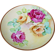 "Gorgeous Ginori 1900's Hand Painted Vibrant ""Deep Red & Yellow Roses"" 9"" Plate by the Artist, ""V.Neri"""