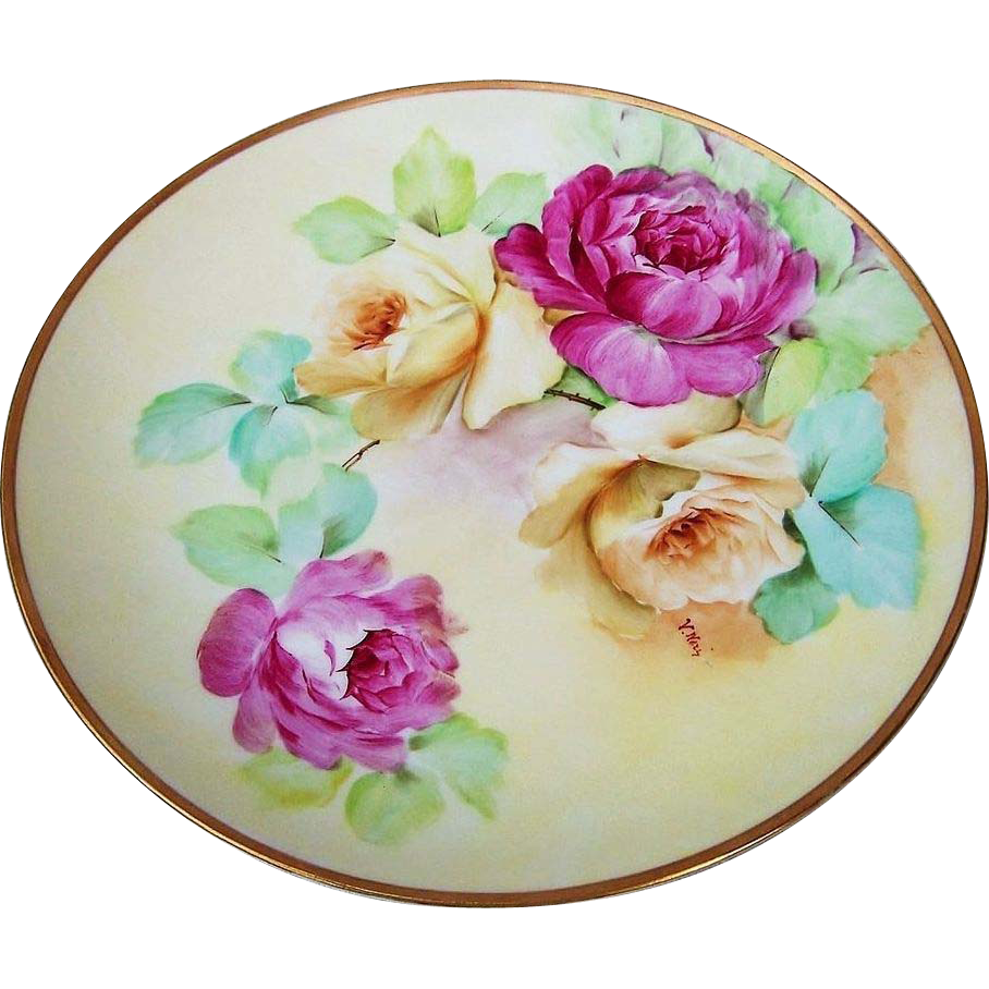 """Gorgeous Ginori 1900's Hand Painted Vibrant """"Deep Red & Yellow Roses"""" 9"""" Plate by the Artist, """"V.Neri"""""""