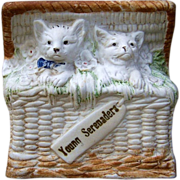 """Superb Vintage Germany Bisque 1900's Hand Painted """"Two Cats Serenading in A Basket"""" Figurine"""
