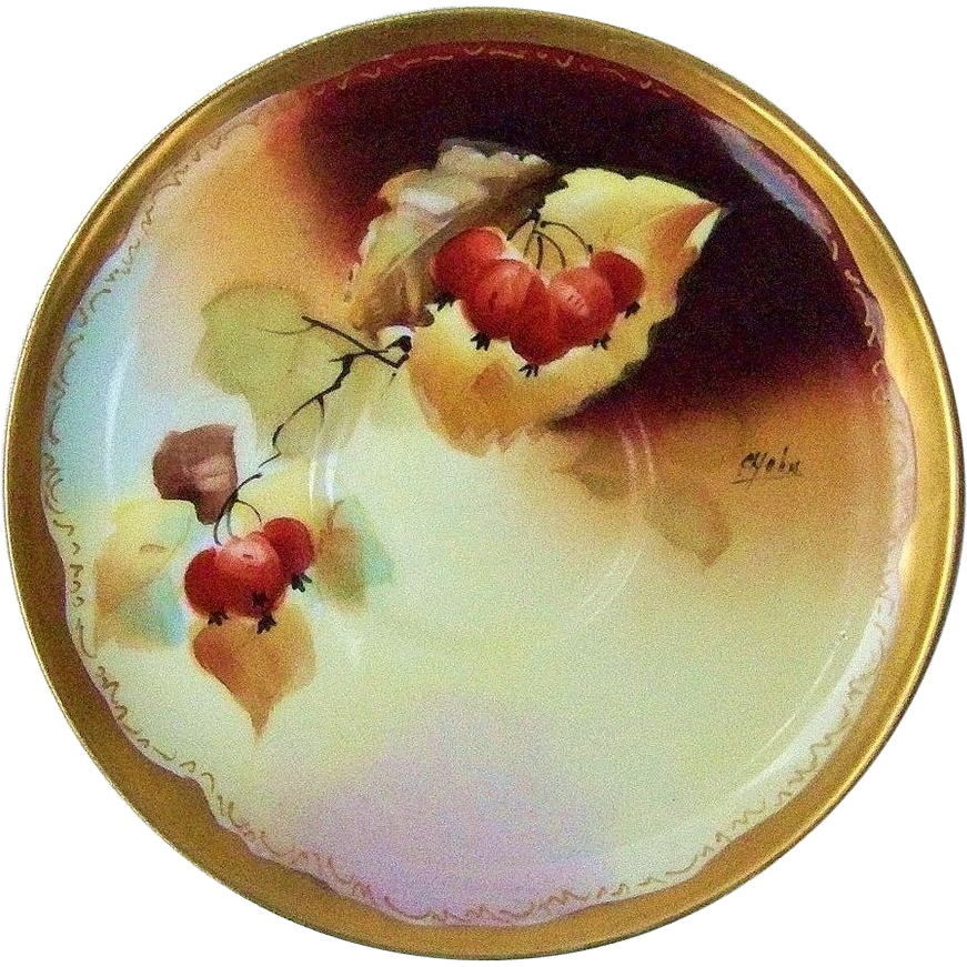 "Gorgeous Pickard Studio of Chicago 1900's Hand Painted ""Red Currant"" 5-3/4"" Saucer by the Listed Artist, ""C. Hahn"""