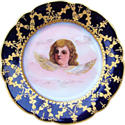 """Attractive France Pre-1900's Hand Painted """"Winged Cherub"""" 7-7/8 Cobalt Decor Plate"""