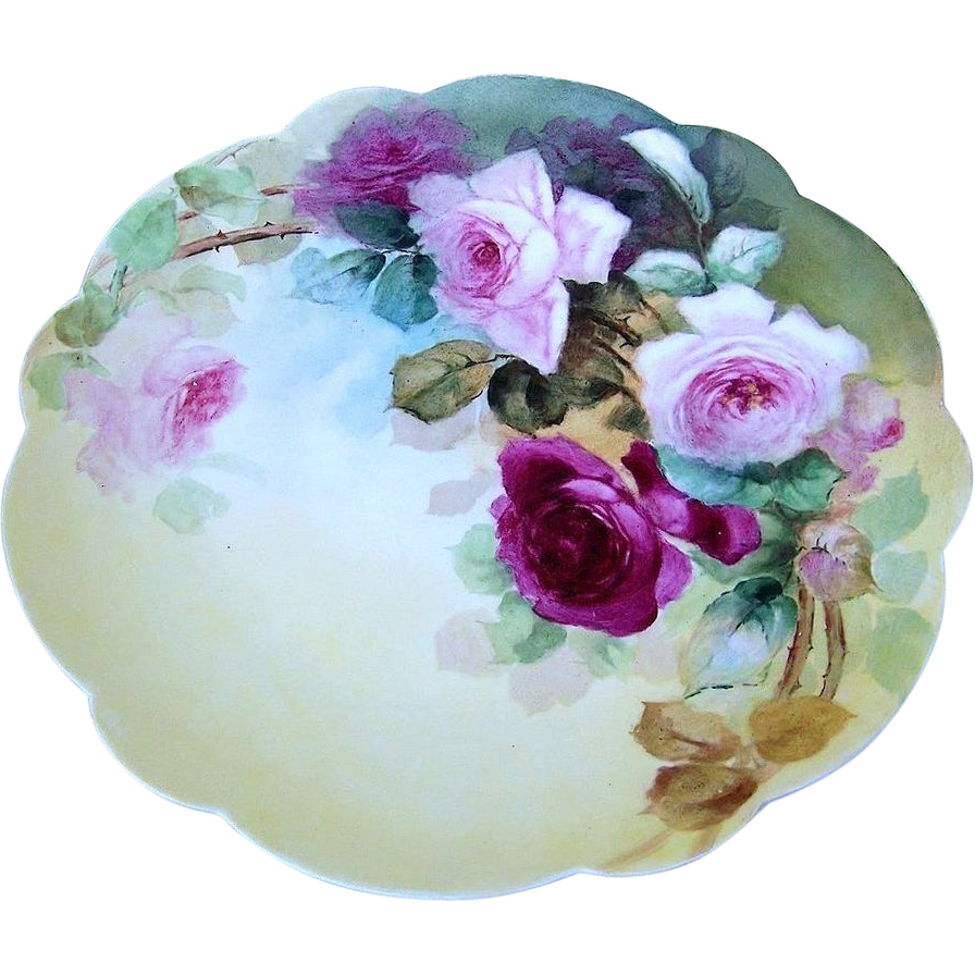 "Gorgeous Limoges France 1900's Hand Painted ""Deep Red & Pink Roses"" 12-3/4"" Charger"