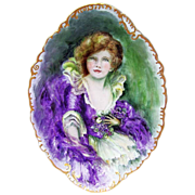 """Spectacular O.E & G. Royal Austria 1900's Hand Painted Portrait of A """"Victorian Lady"""" Massive 15-3/4"""" Tray by the Artist, """"H.Ross"""" - Red Tag Sale Item"""