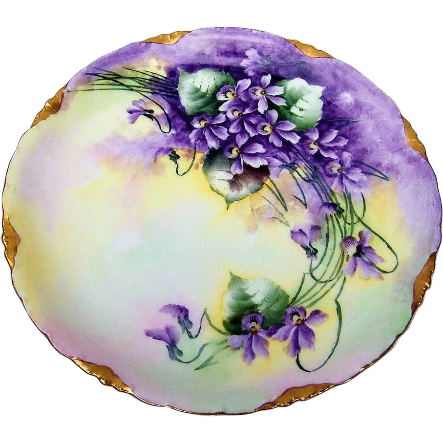 "Beautiful Rosenthal Bavaria 1900's Hand Painted Vibrant ""Violets"" 8"" Plate by the Artist, ""M. Pijan"""