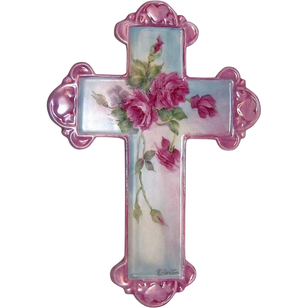 "Gorgeous Bavaria Hand Painted ""Red Roses"" 7"" Cross by the Artist, ""A. Barton"""