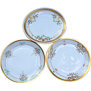 """3 Vintage Pickard Studio of Chicago 1912 Hand Painted Floral Plates From 6-1/4""""--6-3/4"""""""