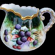 "Spectacular Bavaria 1900's Hand Painted Vibrant ""Blackberry & Raspberry"" 9-1/4"" Cider Pitcher by the PIckard Artist, ""Minnie Luken"""