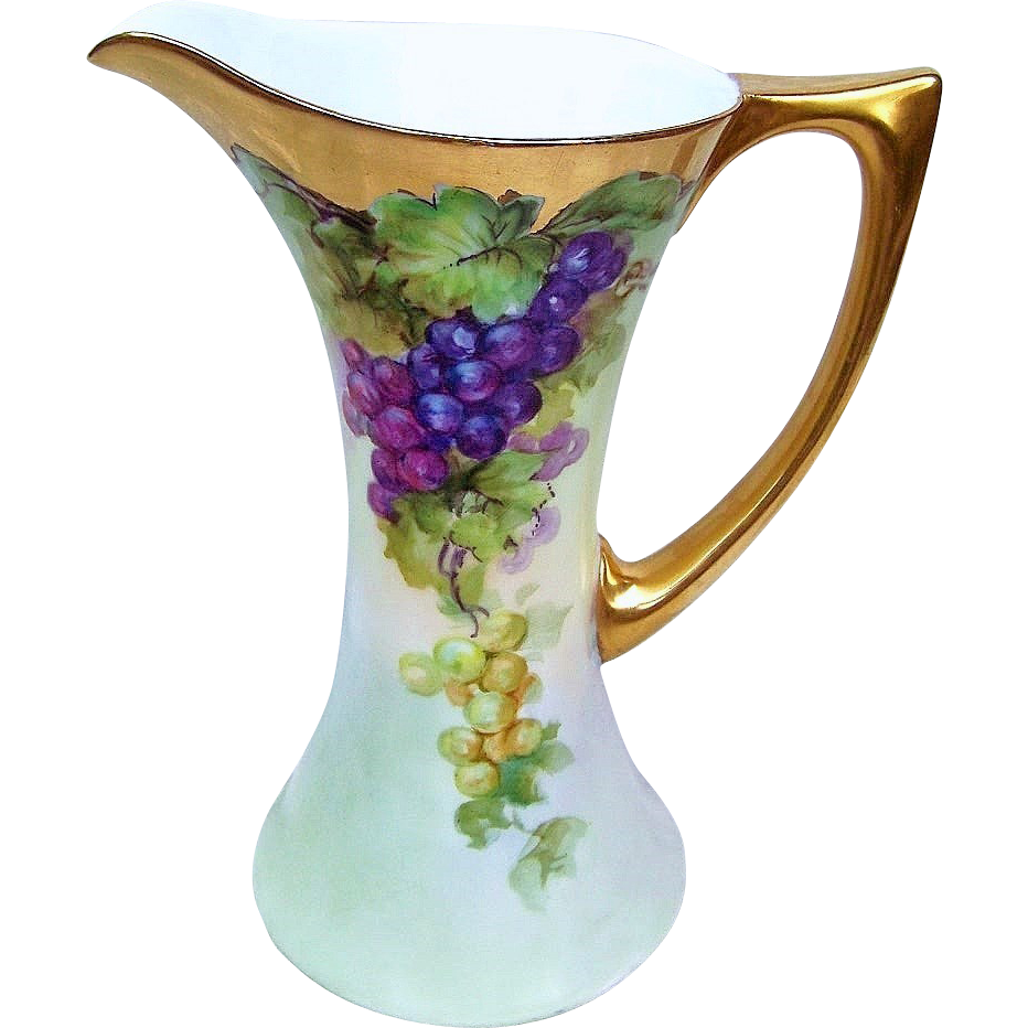 "Outstanding Vintage Uno Favorite Bavaria 1900's Hand Painted ""Purple & Green"" 9"" Tankard"
