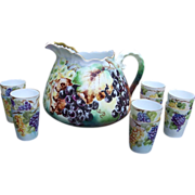 "Gorgeous Vintage J.C. Bavaria 1900's Hand Painted ""Purple, Green, & Yellow Grapes"" 11 Pc. Cider Set by the Artist, ""C.E. Sammel"""
