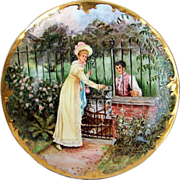 """Beautiful Scenic Limoges 1901 Hand Painted """"The Will & the Way"""" 8-3/4"""" Plate by the Artist, """"A.L."""""""