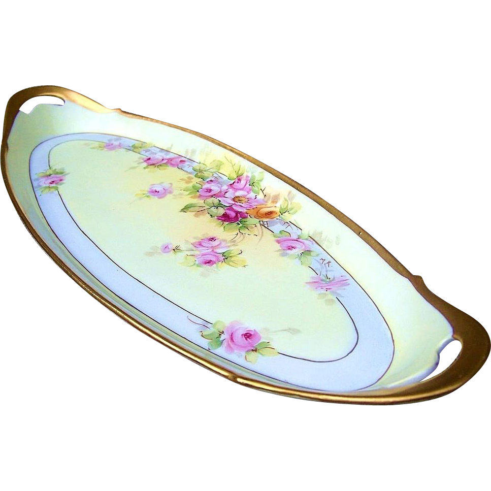 "17-1/8"" Large T & V Limoges France 1914 Hand Painted ""Pink & Yellow Roses"" Floral Tray by the Pickard Artist, ""Max Klipphahn"""