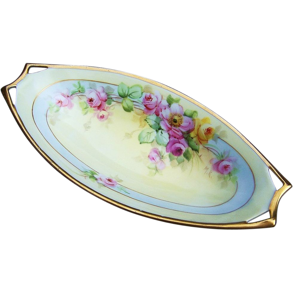 "Attractive JR Hutchenruether Selb Bavaria 1914 Hand Painted ""Pink & Yellow Roses"" 9-3/8"" Tray by the Listed Pickard Artist, ""Max Klipphahn"""