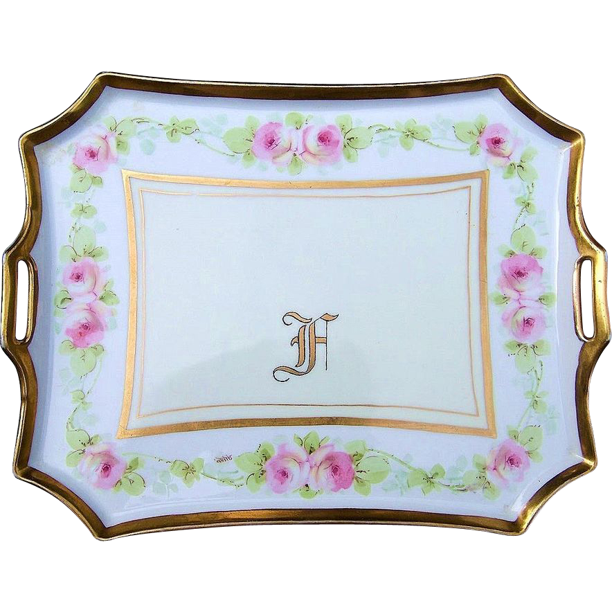 "Gorgeous Bavaria 1900's Hand Painted ""Chain of Pink Roses"" 12-3/4"" Tray by the Artist, ""Alfred"""