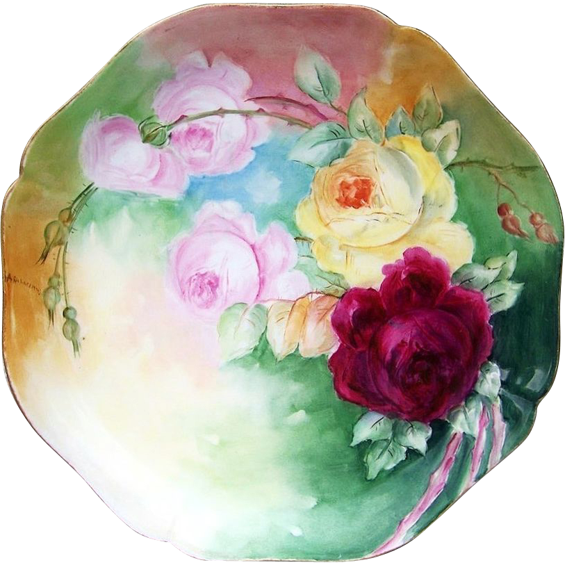 "Gorgeous Limoges France 1900's Hand Painted ""Red, Pink, & Yellow Roses"" 13-1/4"" Charger by the Artist, ""A. Richardson"""