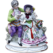 """Beautiful Germany A.J. Uffrecht & Co. 1920's Hand Painted """"Man Serenading His Sweetheart"""" 6-5/8"""" Figurine"""