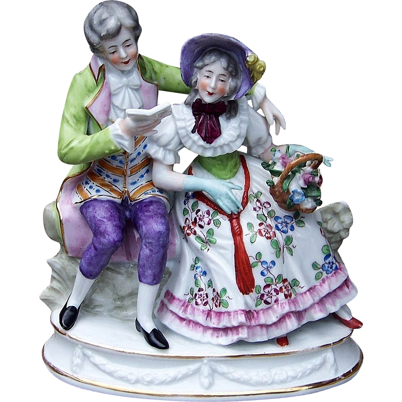 "Beautiful Germany A.J. Uffrecht & Co. 1920's Hand Painted ""Man Serenading His Sweetheart"" 6-5/8"" Figurine"