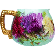 "Gorgeous Belleek 1900's Hand Painted Vibrant & ""Deep Red, Purple, Yellow, & Pink Mums"" 9-1/2"" Cider Pitcher"