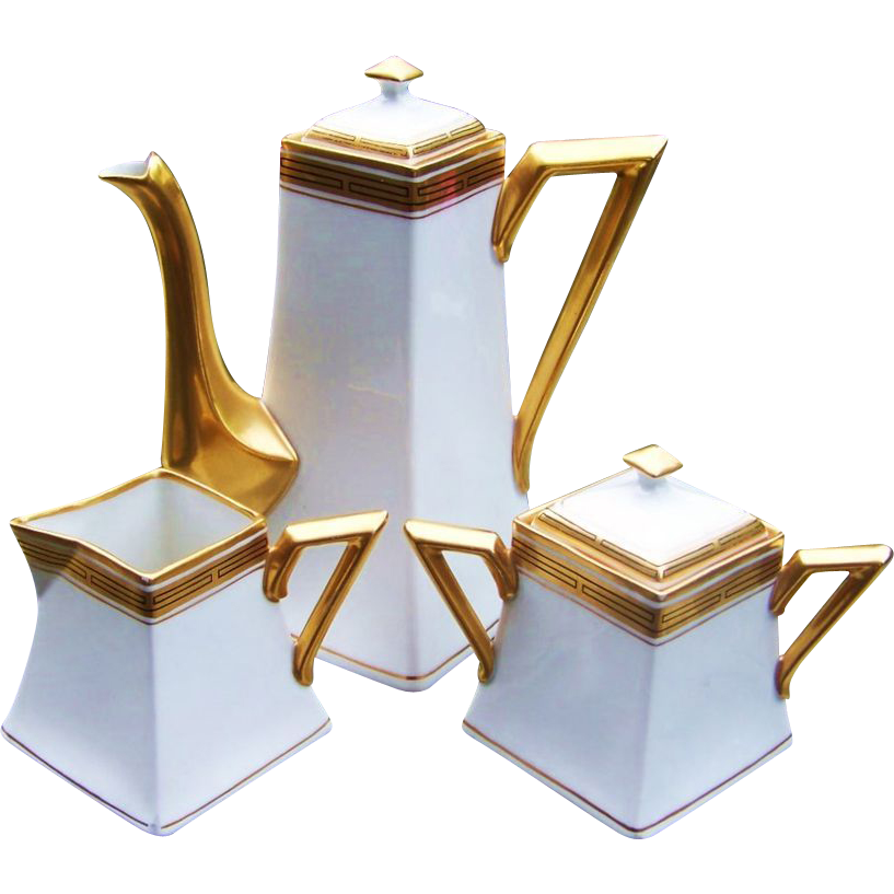 "Elegant D & C France & Pickard Studio of Chicago 1905 ""White & Gilded Gold"" 5-Pc Tea Set"