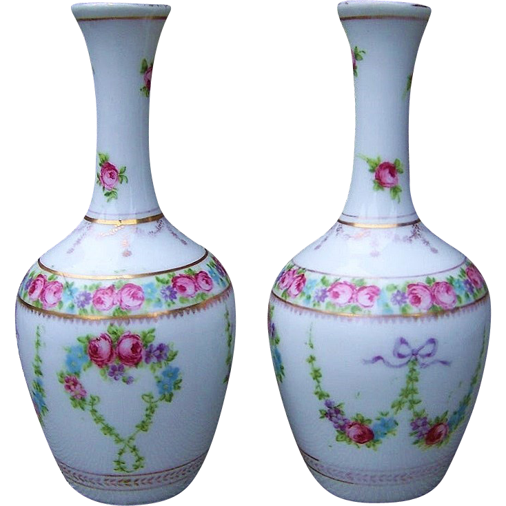 "Beautiful Bavaria 1900's Hand Painted ""Petite Roses & Violets"" 6-3/4"" Matched Pair of Vases"