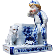 "Outstanding German 1900's Hand Decorated ""Boy, Dog, & Basket of Eggs"" Flow Blue Figurine Cigarette & Match Holder"