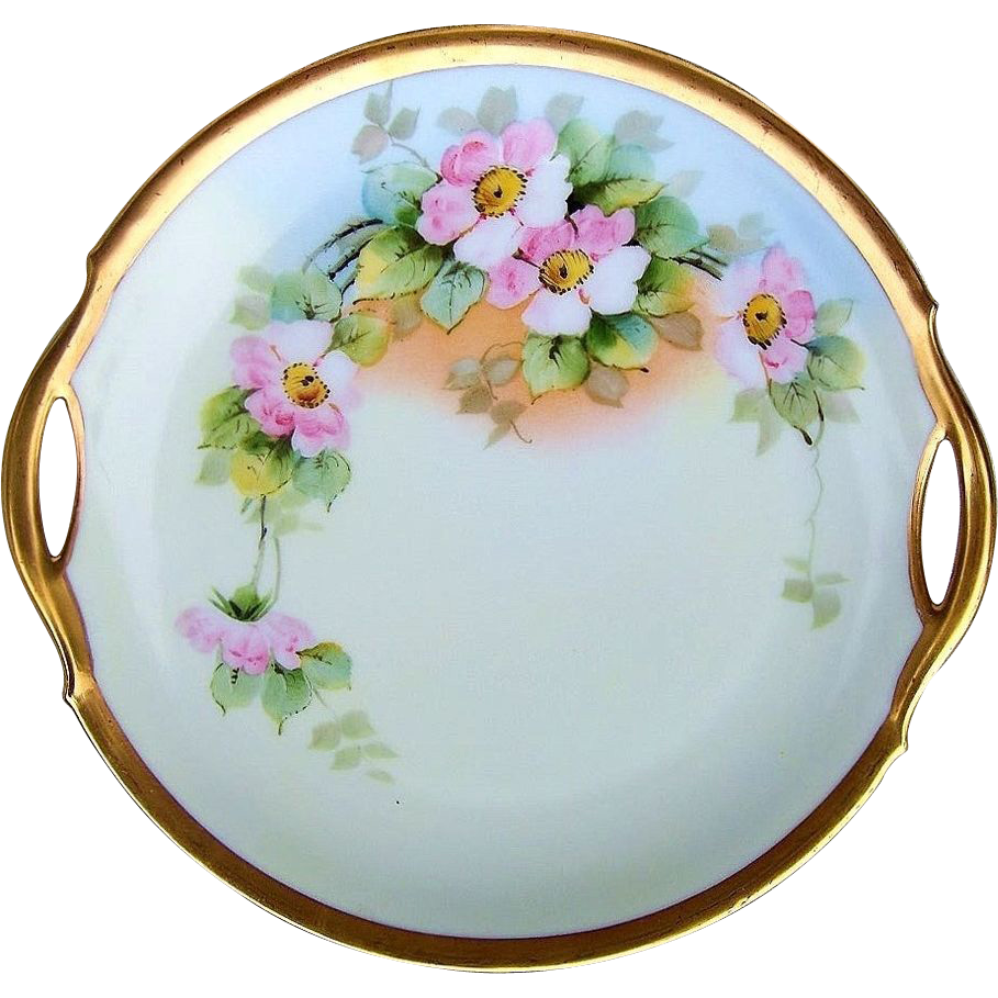 "Beautiful Bavaria Vintage 1900's Hand Painted ""Apple Blossom"" 10-1/2"" Plate by the Pickard Artist, ""M. Rost LeRoy"""