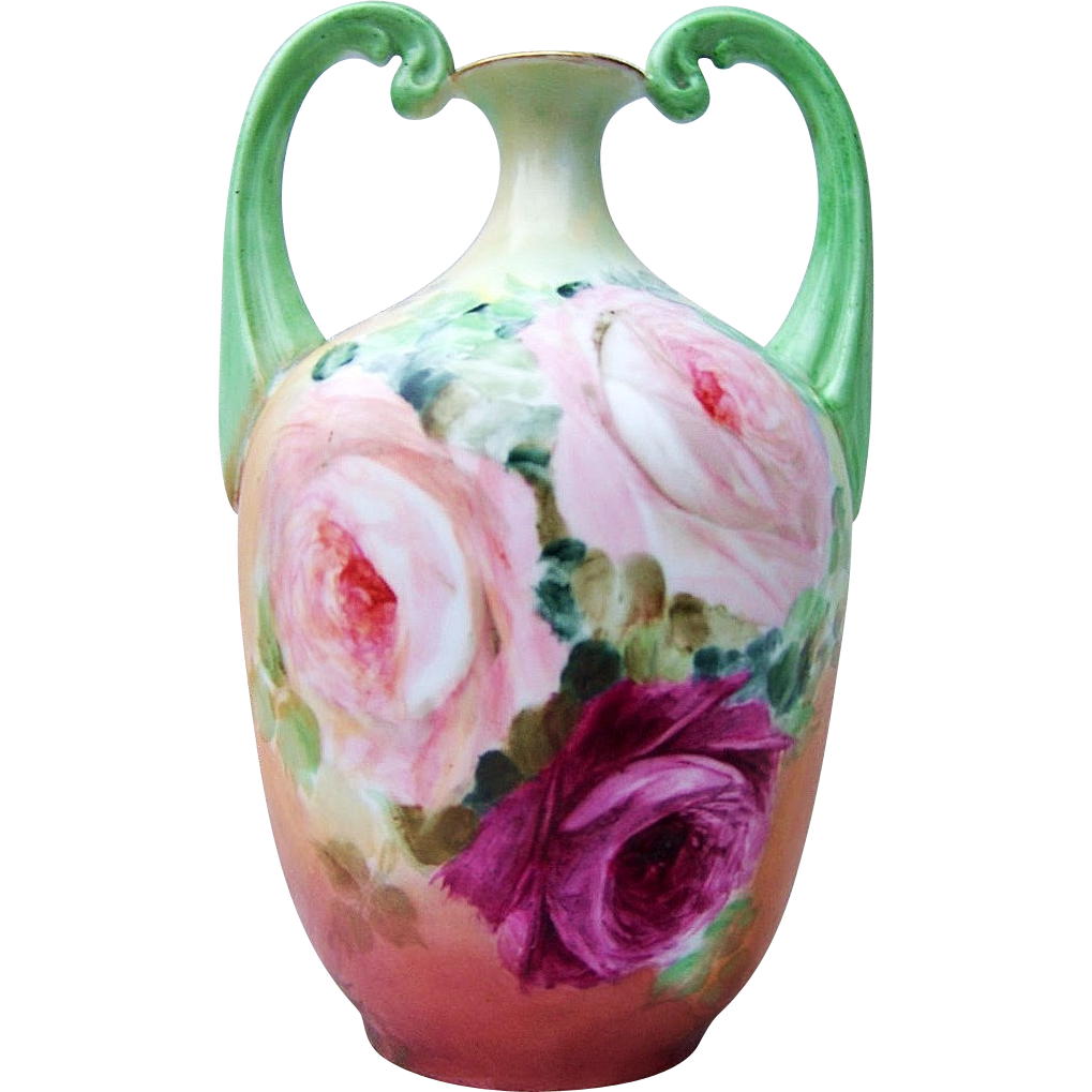 "Gorgeous Limoges France 1900's Hand Painted ""Red & Peach Roses"" 8-1/4"" Muscle Vase"