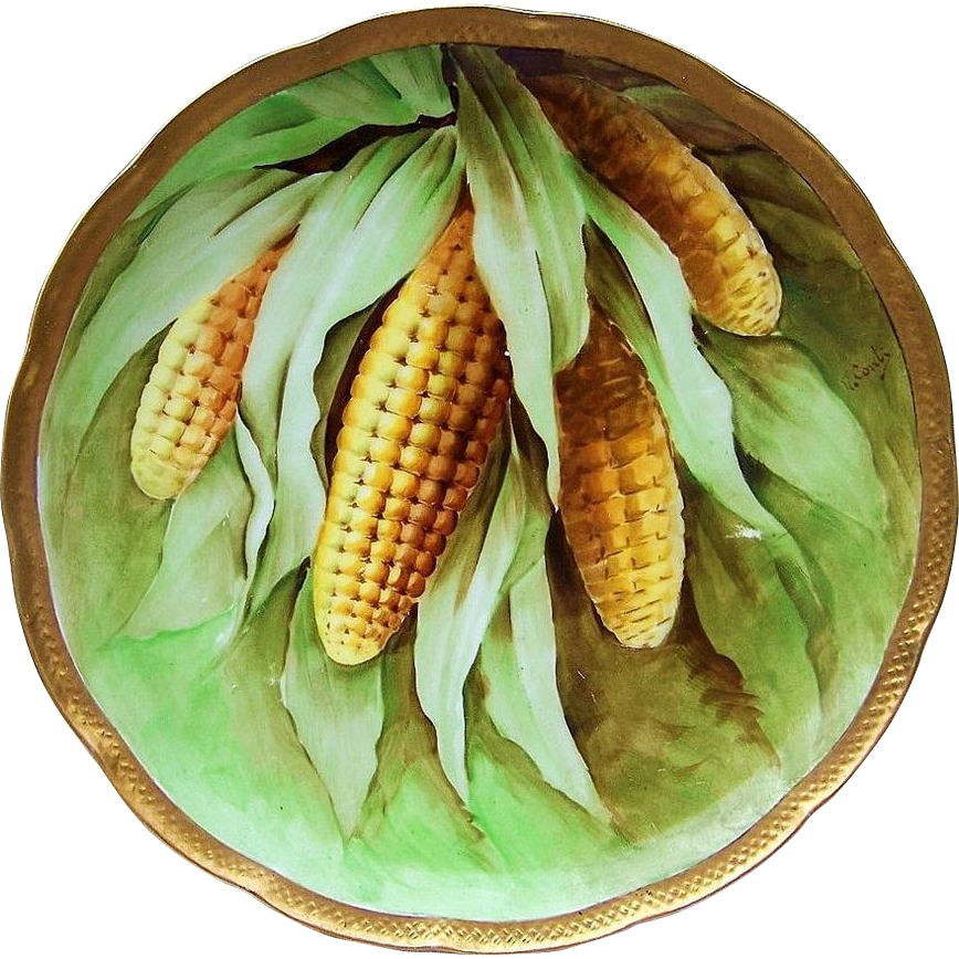 "Attractive Vintage Ginori Italy 1900's ""Corn Stalk"" 9-3/8"" Plate by the Artist, ""V. Conti"""