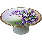 """Gorgeous Vienna Austria 1920's Hand Painted """"Violets"""" Pedestal Tazza by the Listed Chicago Artist, """"Joseph Kittler"""""""