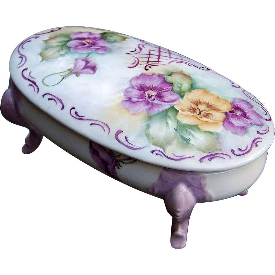 "Gorgeous Bavaria 1900's Hand Painted ""Lavender & Yellow Pansy"" 8"" Footed Dresser Box by the Artist, ""E. Suaaman"""