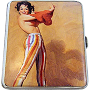 "Exquisite Birmingham 1932 HM Silver ""Revealing Risque Lady"" Pictorial Cigarette Case"