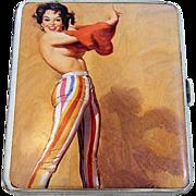 """Exquisite Birmingham 1932 HM Silver """"Revealing Risque Lady"""" Pictorial Cigarette Case"""