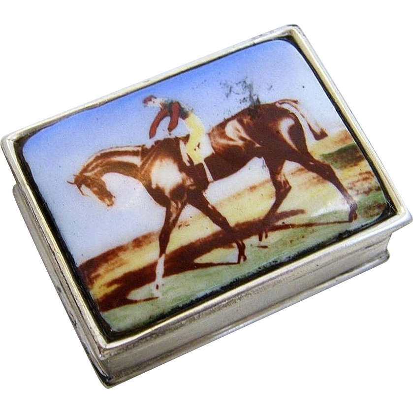 "Gorgeous English Sterling Silver 925 Enameled ""Racing Horse & Jockey"" Scenic Pill Box"
