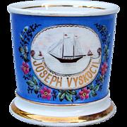 """Outstanding T & V Limoges France Occupational Shaving Mug """"Two Mast Schooner Sailing Vessel"""" Inscribed """"Joseph Vyskocil"""""""