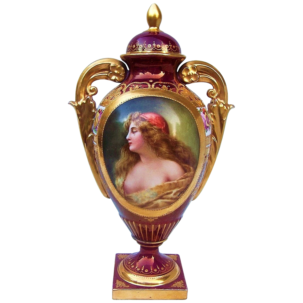 "Spectacular Royal Vienna Museum Quality 1900's Hand Painted Partially Nude Portrait ""Gitana"" 9-3/4"" Urn by the Outstanding Listed Artist, ""Wagner"""