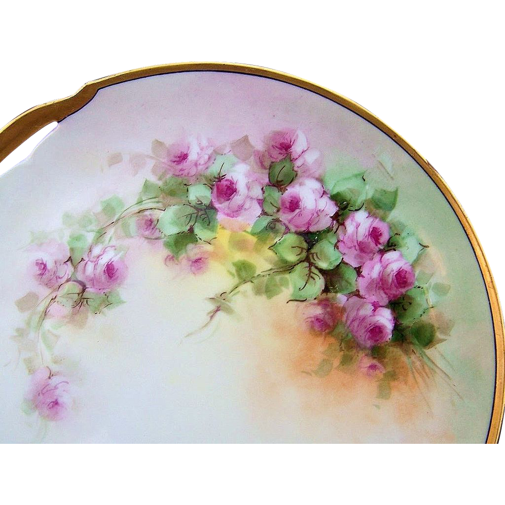 "Gorgeous KPM Germany 1900's Hand Painted""Petite Pink Roses"" 10"" Plate"