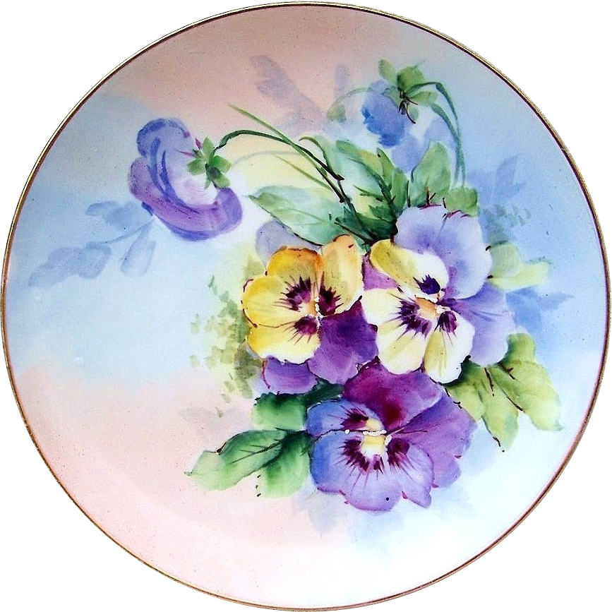 "Gorgeous J.C.L. Bavaria 1896 Hand Painted ""Purple & Yellow Pansy"" 8-3/8"" Plate by the listed Artist, ""F. Grunewald"""