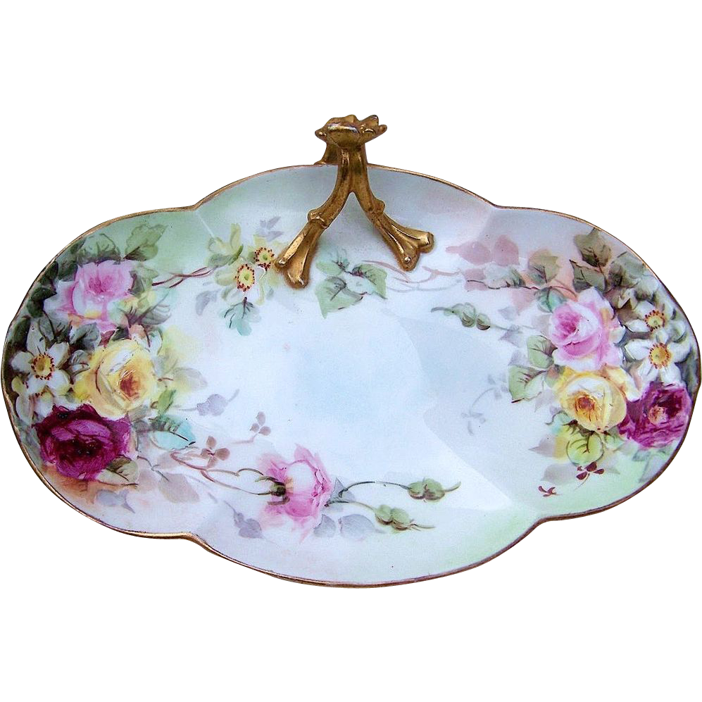 "William Guerin Limoges France 1900's Hand Painted ""Red, Pink, & Yellow Roses"" 10-3/4"" Handle Tray"