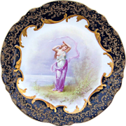 """Spectacular Vintage Limoges France 1900's Hand Painted Scenic Portrait of A """"Bathing Lady"""" 9-1/2"""" Heavy Gold & Cobalt Blue Plate, by the Listed Artist, """"E. Furland"""""""