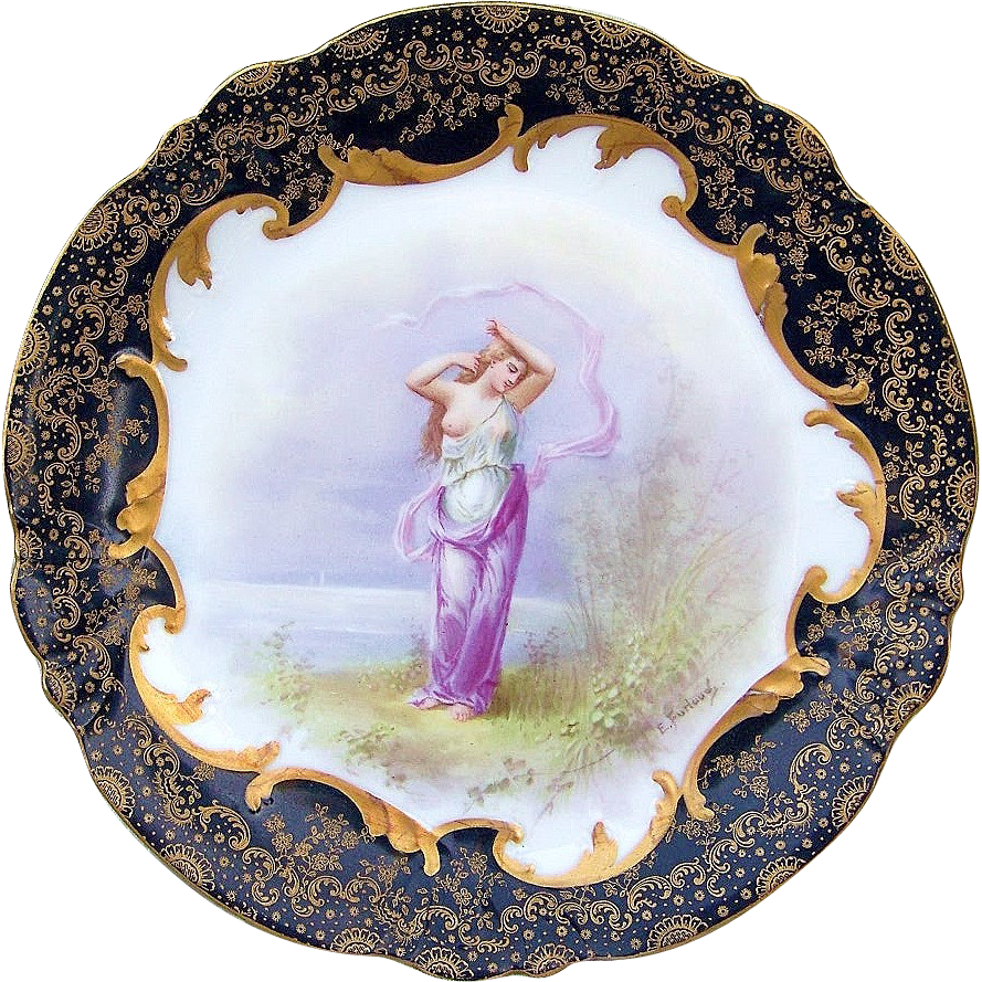 "Spectacular Vintage Limoges France 1900's Hand Painted Scenic Portrait of A ""Bathing Lady"" 9-1/2"" Heavy Gold & Cobalt Blue Plate, by the Listed Artist, ""E. Furland"""