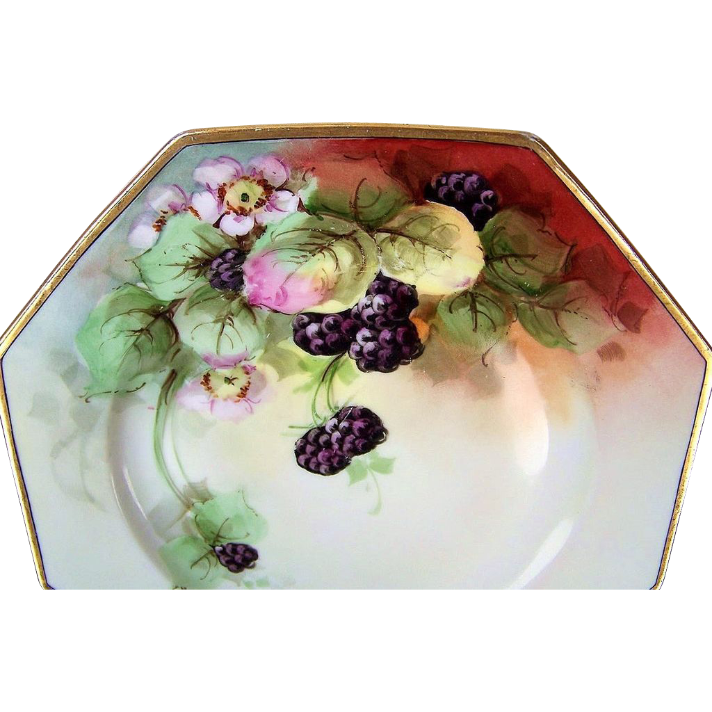 "Outstanding Rosenthal Selb Bavaria 1900's Hand Painted ""Blackberry"" 9-3/8"" 8-Sided Plate"