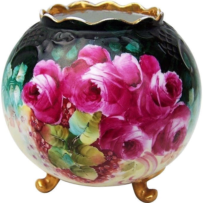 "Spectacular Vintage Vienna Austria 1900's Hand Painted Vibrant ""Deep Red Roses"" Footed Scallop Vase by the Pickard Artist, ""A. Burton"""
