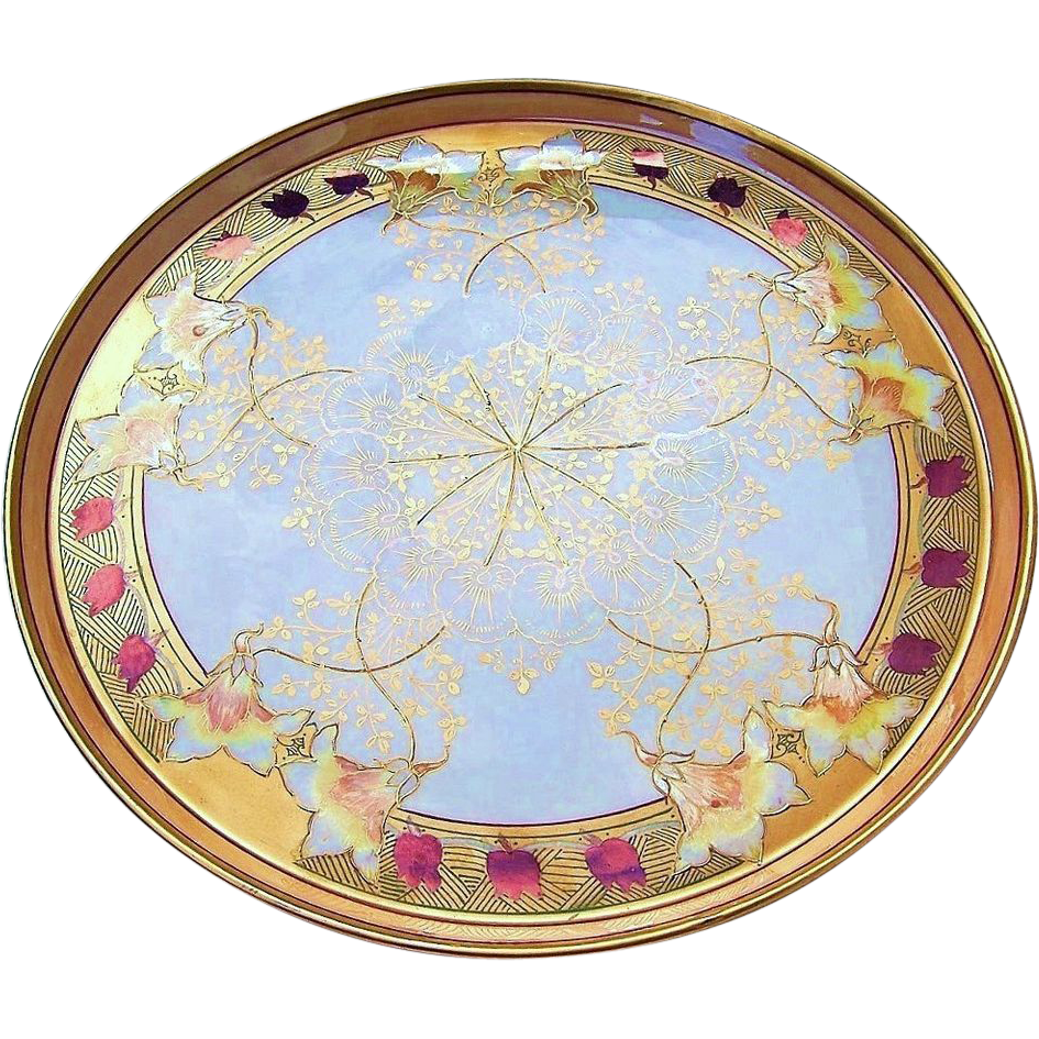 "Exquisite T & V Limoges France & Pickard Studio of Chicago 1900's Hand Painted ""Iridescent Burnt Orange & Red Tulip"" 14"" Floral  Tray"