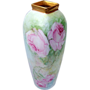"Attractive Vintage Austria 1900's Hand Painted ""Large Pink Roses"" 4-Sided Vase by the Artist, ""L. Swieby"""