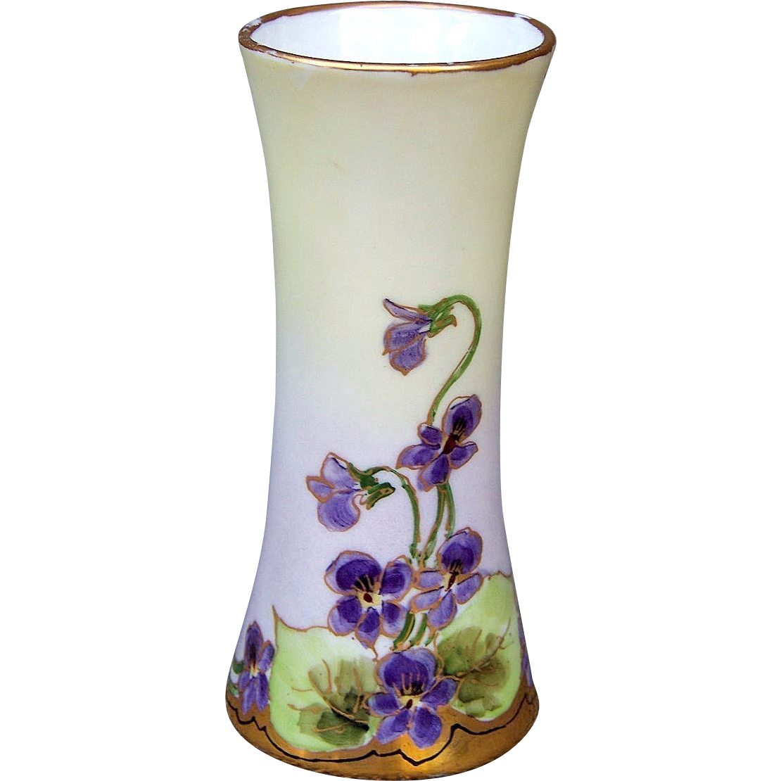 "Beautiful Bavaria 1900's Hand Painted ""Violets"" 5-1/4"" Corset Vase"
