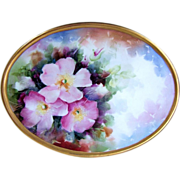 """Spectacular Gerold Tettau Bavaria Hand Painted Vibrant """"Pink & White Pansy"""" 9-3/4"""" x 7-1/4"""" Heavily Gilded Gold Plaque, Artist Signed, """"Uhel Murry"""""""