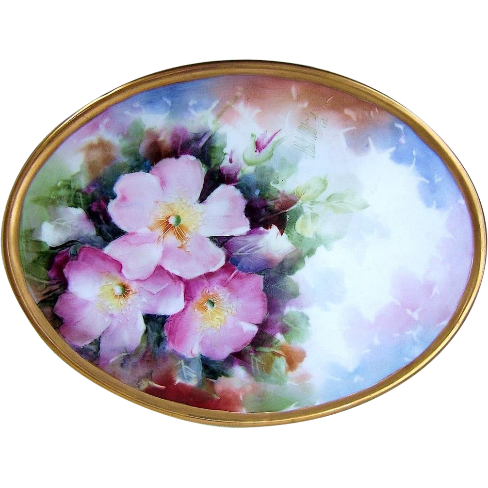 "Spectacular Gerold Tettau Bavaria Hand Painted Vibrant ""Pink & White Pansy"" 9-3/4"" x 7-1/4"" Heavily Gilded Gold Plaque, Artist Signed, ""Uhel Murry"""