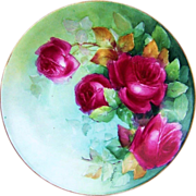 "Outstanding D & Co. France Limoges 1900's Hand Painted Vibrant ""Red Roses"" 9-1/2"" Plate by the Artist, ""M. Dignan"""