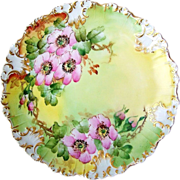 """Gorgeous Limoges France 1900's Hand Painted """"Apple Blossoms"""" 8-3/4"""" Plate"""