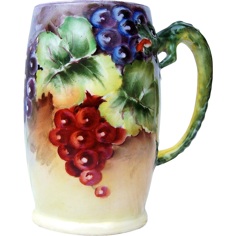 "Beautiful Limoges France 1900's Hand Painted ""Purple, Red, & Green Grapes"" Dragon Handle Tankard Stein"